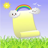 .Scroll to recording with the clouds, a rainbow. Scroll to recording with the clouds, a rainbow and the sun Stock Photo