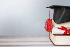 Scroll. Top university graduation roll learned on stock photos