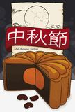 Delicious Mooncake with Red Beans and Scroll for Mid-Autumn Festival, Vector Illustration Royalty Free Illustration