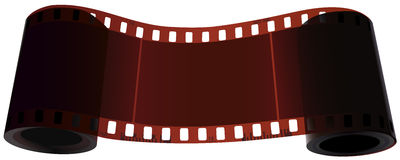 Scroll of two bobbin of one film. Vector realistic scroll of two coils of one film with empty frame in the middle Stock Photos