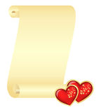 Scroll with two hearts Stock Image