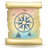 Scroll with vintage compass design and boats Royalty Free Stock Photos