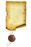Scroll with wax seal. Isolated over a white background Royalty Free Stock Images