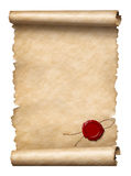 Scroll with wax seal. Isolated on white vector illustration