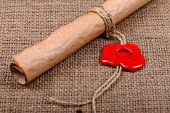 Scroll and wax seal Royalty Free Stock Images