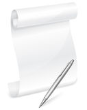 Scroll white paper with grey pen Royalty Free Stock Photos
