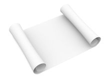 Scroll of white paper. Isolated render on a white background Royalty Free Stock Photography