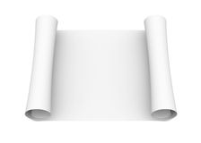 Scroll of white paper. Isolated render on a white background Royalty Free Stock Photos