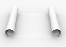 Scroll of white paper. Isolated render on a gray background Royalty Free Stock Image