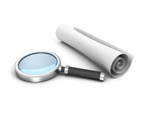 Scroll white paper and magnifying glass Royalty Free Stock Image