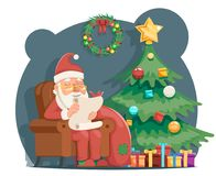 Scroll Wishes Paper Santa Claus Sit Armchair Pleased Happy Satisfied Christmas Gift Bag Cartoon Character Design Royalty Free Stock Image
