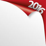 2016 Scrolled Corner Red Paper Cover. Convert paper cover with text 2016 on the red background Stock Images