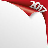 2017 Scrolled Corner Red Paper Cover Stock Photos