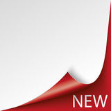 Scrolled Corner Red Paper Cover New Stock Image