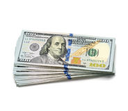 Scrolled stack of 100 dollar. Bills Royalty Free Stock Images