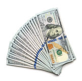 Scrolled stack of 100 dollar. Bills Royalty Free Stock Image