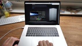 Scrolling Apple Website on 2018 MacBook Pro 15 Safari browser. Paris, France - circa 2018: Man hands POV scrolling Apple Website on MacBook Pro 15 Safari browser stock video footage