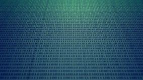 Scrolling błękitnego i zielonego binarnego kod ilustracji