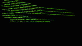 Scrolling green HTML coding on black background stock footage
