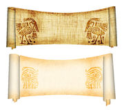 Scrolls with American Indian national patterns. Isolated over white stock photo
