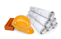 Scrolls of architectural drawings and building Stock Photo