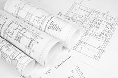 Scrolls of architectural drawings Royalty Free Stock Photo