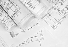 Scrolls of architectural drawings Royalty Free Stock Photography