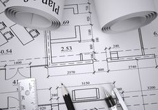 Scrolls of architectural drawings Stock Image