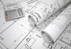 Scrolls of architectural drawings Stock Images