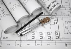 Scrolls of architectural drawings Royalty Free Stock Images