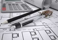 Scrolls of architectural drawings. The desk architect Stock Photo