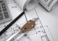 Scrolls of architectural drawings Stock Photography