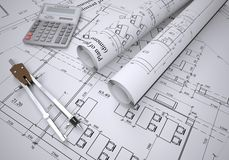 Scrolls of architectural drawings Royalty Free Stock Photos