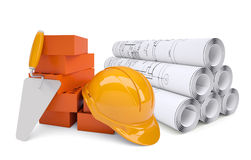 Scrolls of architectural drawings and work tools Stock Images