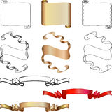 Scrolls and banners. Scroll, banner, and flag design elements, several alternatives stock illustration