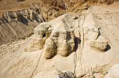 Scrolls cave of Qumran. The scrolls cave of Qumran in Israel where the dead sea scrolls have been found Royalty Free Stock Image