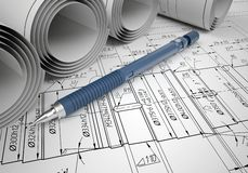 Scrolls engineering drawings and automatic pencil Stock Photos