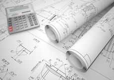 Scrolls engineering drawings and calculator Stock Images