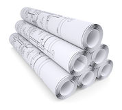Scrolls of engineering drawings Stock Image