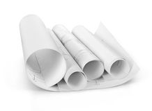 Scrolls of engineering drawings. Stock Photo
