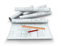 Scrolls of engineering drawings. Isolated render on a white background Royalty Free Stock Images