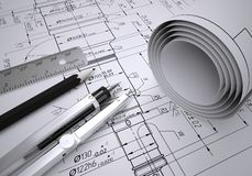 Scrolls engineering drawings and tools Royalty Free Stock Photos