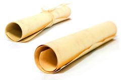 Scrolls of old papper Stock Image