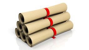 Scrolls with red ribbon Stock Image