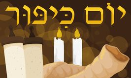 Scrolls, Shofar and Candles Lighted at Night for Yom Kippur, Vector Illustration Stock Images