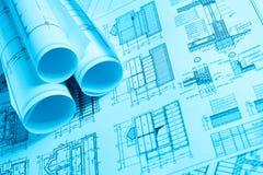 Scrolls of technology blueprint Royalty Free Stock Image