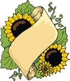 scrollsolros royaltyfri illustrationer