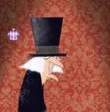 Scrooge滑稽的墨水图画在红色锦缎背景的 库存照片