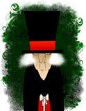 Scrooge grunge avec un petit cadeau Photo libre de droits