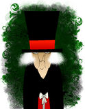 Scrooge grunge avec un petit cadeau illustration stock